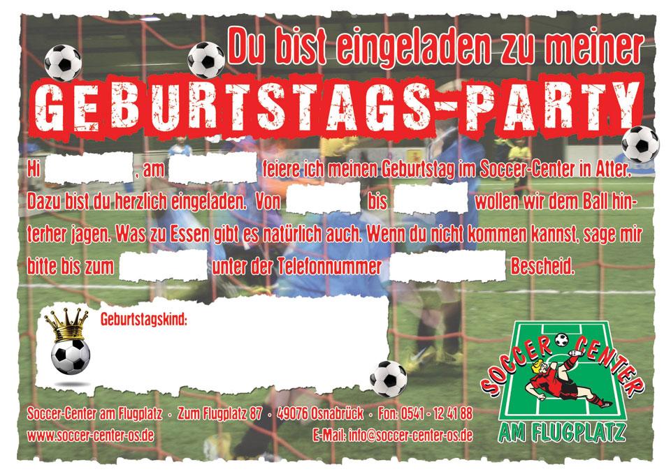Soccer Center Osnabrück | Geburtstagsparty-Einladung